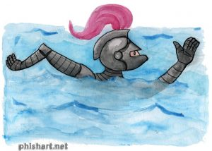 artwork of Rutherford the Brave swimming in a suit of armor.