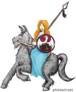 artwork depicting Tela riding the multi-beast