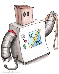 Artwork showing the AC/DC bag, the robotic hangman as imagined by a 10 year old