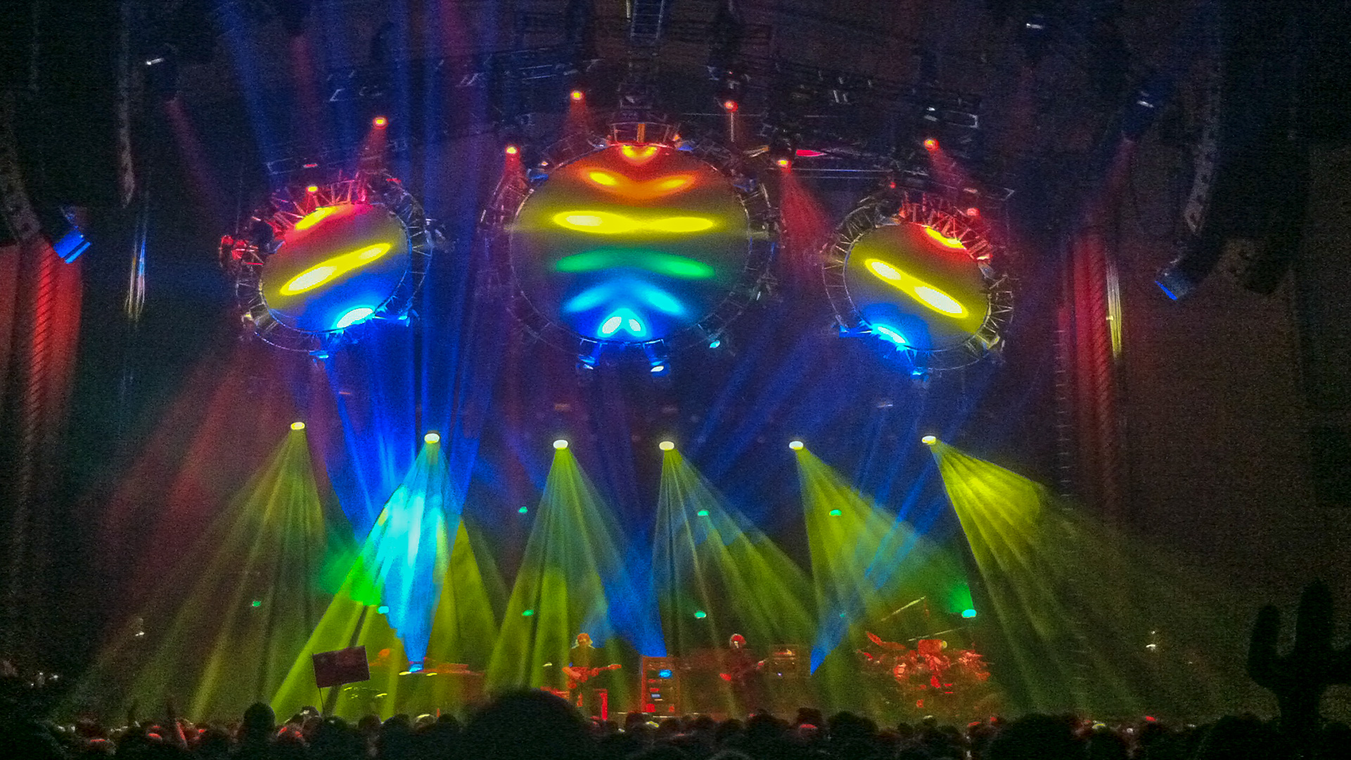 Phish on stage with an amazing light show