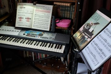 My post-Halloween piano learning station setup