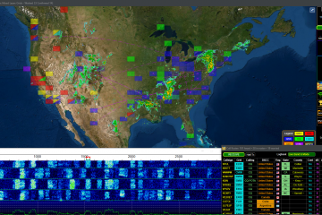 GridTracker map zoomed in on the US, with the waterfall and call roster under it